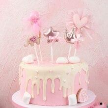 1 шт., новинка, корона, звезда, топпер для торта в форме сердца, украшение торта на день рождения, для вечеринки, свадьбы