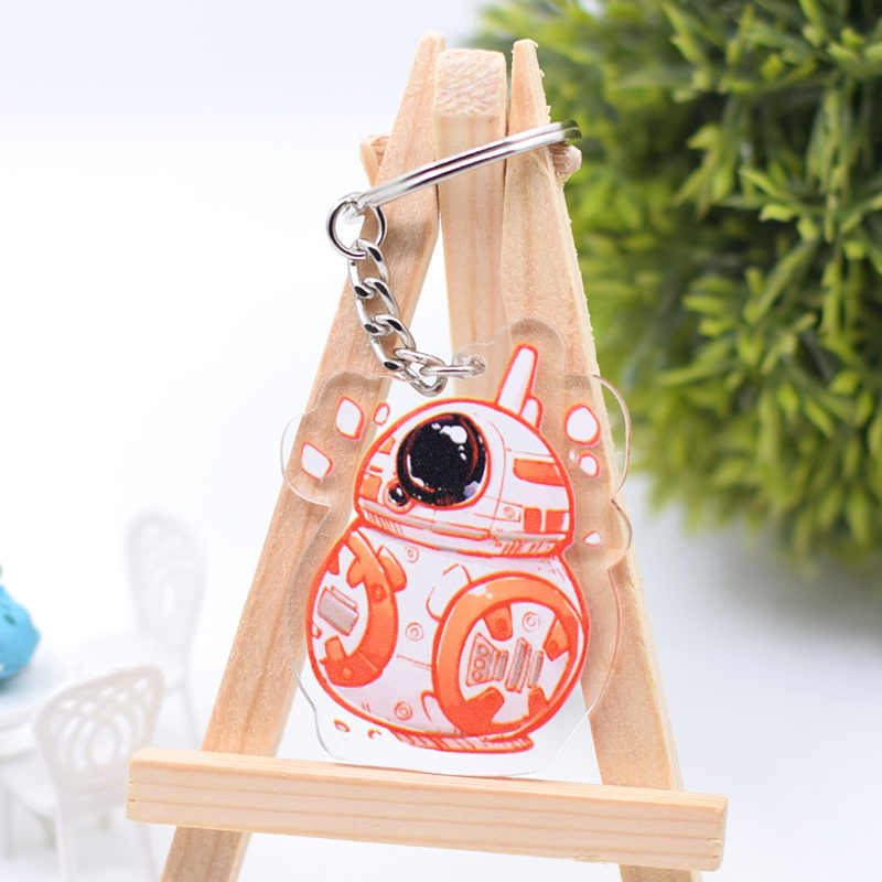 Star Wars Stormtrooper BB-8 Keychain Bonito Dupla Face Chaveiro Pingente Acrílico Anime Acessórios Anel Chave Dos Desenhos Animados DBS1P