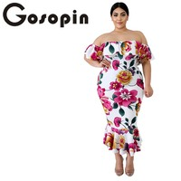 Gosopin Floral Print Mermaid Plus Size Dress Off Shoulder XXXL Bodycon Korean Dresses Short Sleeves Summer Veatido Festa 611116
