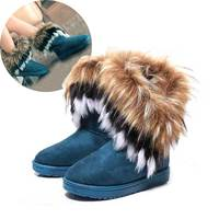Woman Snow Boots Female Winter Imitation Fox Hair Leisure Warm Ankle Boots Chaussure Women Warm Botas Footwear