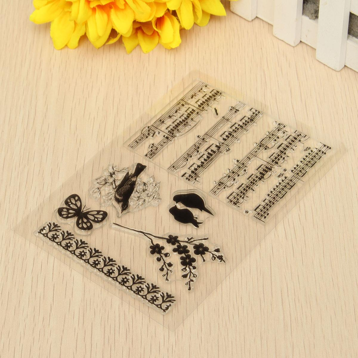 Rubber stamp craft supplies - Diy Silicone Music Notes Transparent Rubber Stamp Scrapbooking Decorative Sheets Paper Card Album Crafts Gadgets Supplies