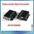 1 par 2 unids/lote 4 canales de vídeo convertidor óptico de fibra óptica transmisor óptico de vídeo y receptor canales + RS485 Data