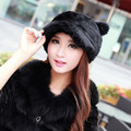 Women Real Rabbit Fur Hat Russian Winter Women Fashion Natural Rabbit Fur Hat Cartoon Lovely Ears Cap Bomber Peas Black Hat H#69