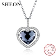 SHEON Luxury 925 sterling silver Blue Heart Crystal Pendant Necklaces for Women Fine Anniversary Silver Jewelry Valentine Gift joy division unknown pleasures 180 gram