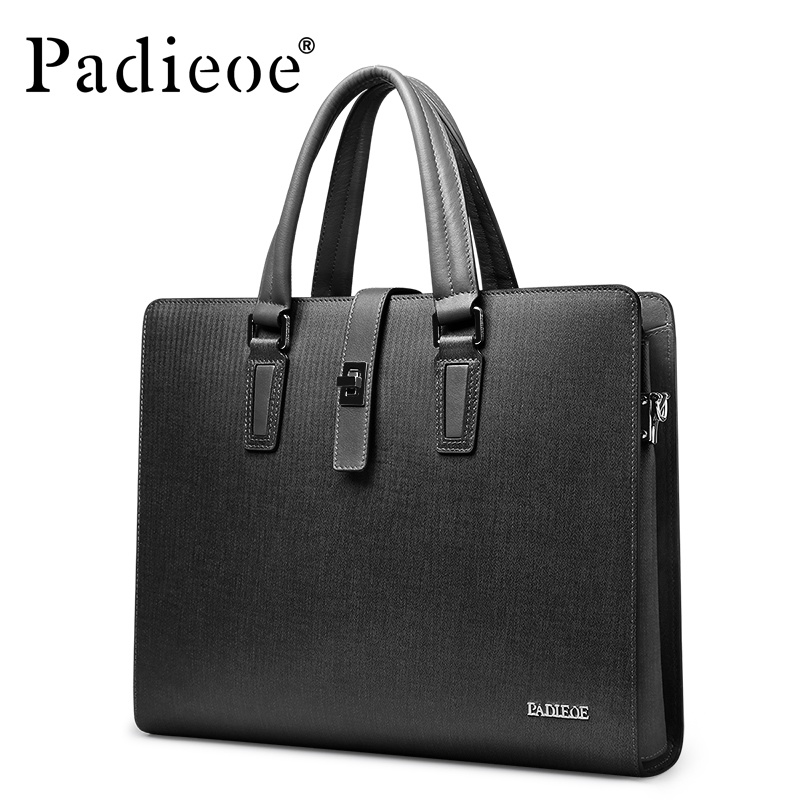 Padieoe Top Split Cowhide Leather Business Briefcase Luxury Brand Men Laptop Documents Bag Fashion Men's Shoulder Crossbody Bag