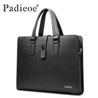 Padieoe Top Split Cowhide Leather Business Briefcase Luxury Brand Men Laptop Documents Bag Fashion Men's Shoulder Crossbody Bag