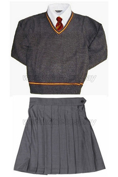 Free Shipping Gryffindor Hermione Cosplay Skirt Uniform from Harry Custom Made for Halloween and Christmas