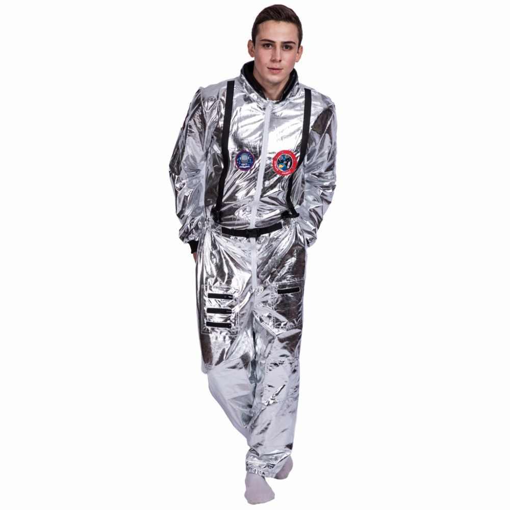 Erkekler astronot Alien Spaceman Cosplay kask karnaval yetişkin kadın pilotları kıyafetler cadılar bayramı kostüm grubu aile eşleşen giyim
