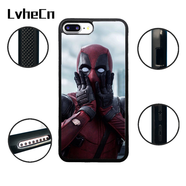 LvheCn TPU Phone Cases For iPhone 6 6S 7 8 Plus X 5 5S 5C SE 4 4S ipod touch 4 5 6 Cover SHOCKED DEADPOOL Black Rubber