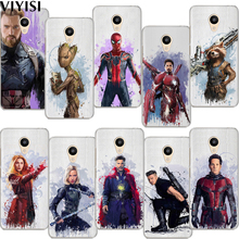 VIYISI Marvel Avengers For Meizu M6 5 Note Phone Case M5S 5C M3s 3Note Pro6 U10 U20 Coque Cover Spiderman Rocket raccoon Shell