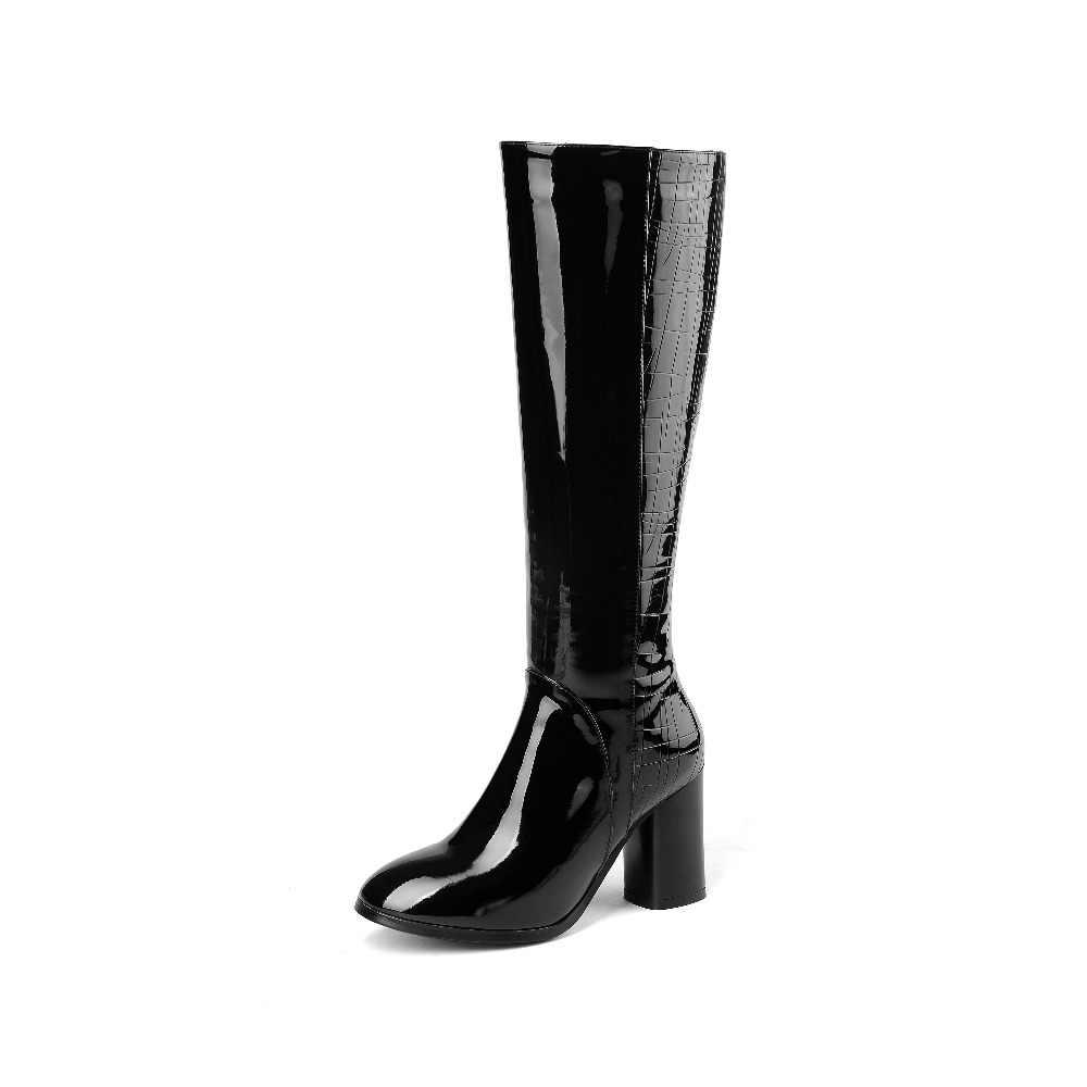 2020 büyük boy yüksek topuklu zarif kadın diz-yüksek çizmeler fermuar katı sıcak kış ayakkabı tutmak özlü tatlı uyluk yüksek çizmeler L73