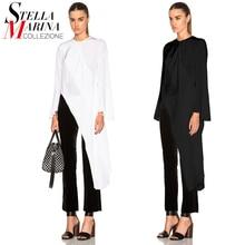 2016 European Women Black White Chiffon Blouse Shirt Long Sleeves Split Summer Autumn Elegant Feminine Shirts chemise femme 1695