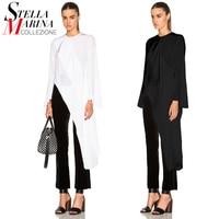New European Style Women Black Blouse Shirt O Neck Long Sleeves Split Sloping Ladies Summer Autumn