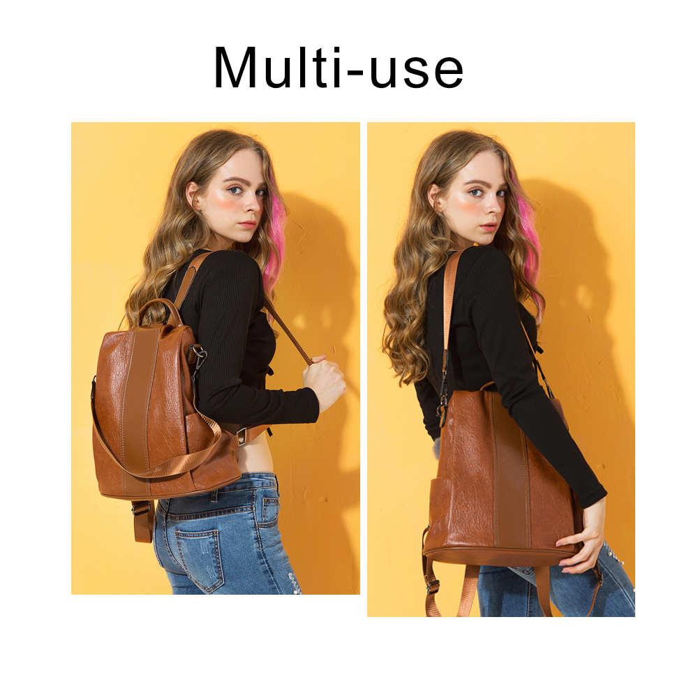 HERALD FASHION Quality Leather Anti thief Women Backpack Large Capacity Hair Ball School Bag for Teenager HERALD FASHION Quality Leather Anti-thief Women Backpack Large Capacity Hair Ball School Bag for Teenager girls Male Travel Bags
