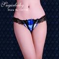 3972 Cheia Do Laço Calcinha Sexy G-corda Das Senhoras Sexy Mulheres Transparente Strass Oco Out Low-cintura Calças T