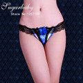 3972 Full Lace Panties Sexy Ladies G-string Sexy Women Transparent Rhinestones Hollow Out Low-waist T Pants