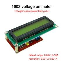 1602 амперметр напряжения/измеритель мощности/ЖК-монитор/кулонов AH/тестер емкости батареи