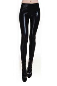 5f3e4910b5c4e2 qepae Metallic Wet Look Leggings Shiny Stretch Women black