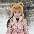 Russia New Boys Girls Real Rex Rabbit Fur Hat Children Warm Winter Fur Hat Caps Bomber Hats