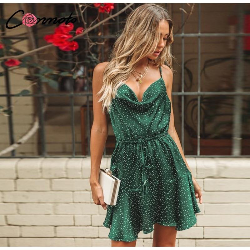 Conmoto 19 Summer Fashion Strap Backless Stain Short Dress Women Casual High Street Polka Dot Dress Beach Holiday Vestidos 5