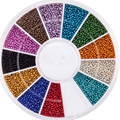 Nail Art Decorations Wheel With Beads Pearls Caviar In 12 Different Colors