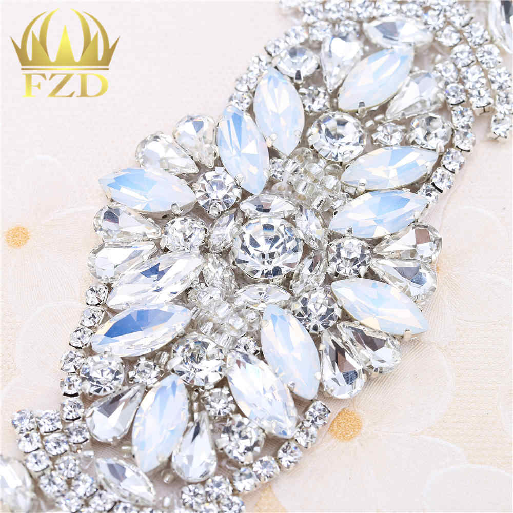 1 piece Handmade Hot Fix Sliver Rhinestones Applique Iron Sew On Bling  Applique for Headpieces Dresses ab5ebe187a8f