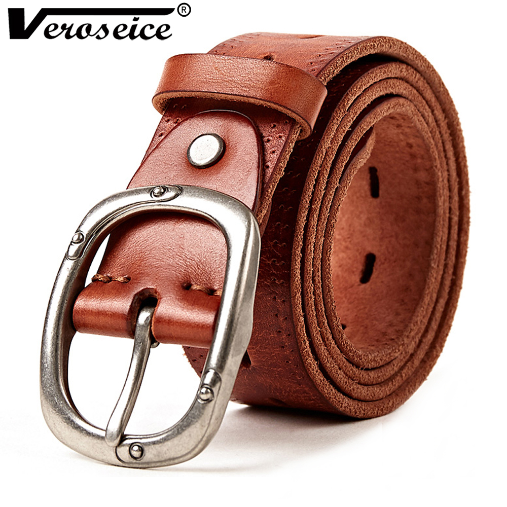 [Veroseice] 2017 Full Grain 100% Genuine Leather Mens Belts Luxury Hot Designer Belt Men High Quality Womens Cowboy Strap Cinto