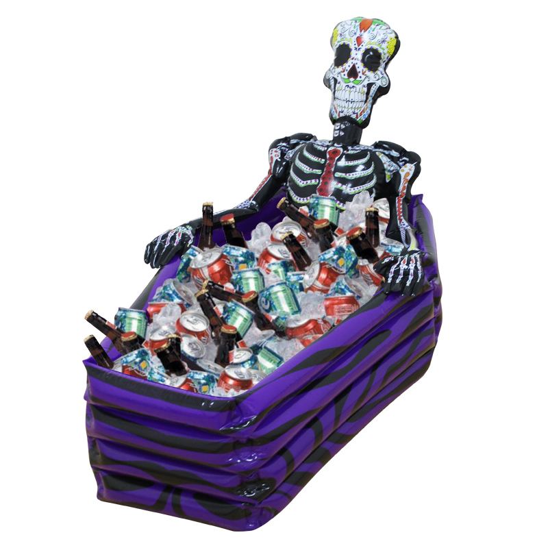 ФОТО Large Outdoor Inflatable Skeleton Coffin Drink Cooler Ice Buckets PVC Inflatable Toys Halloween Party Decorations Supplies