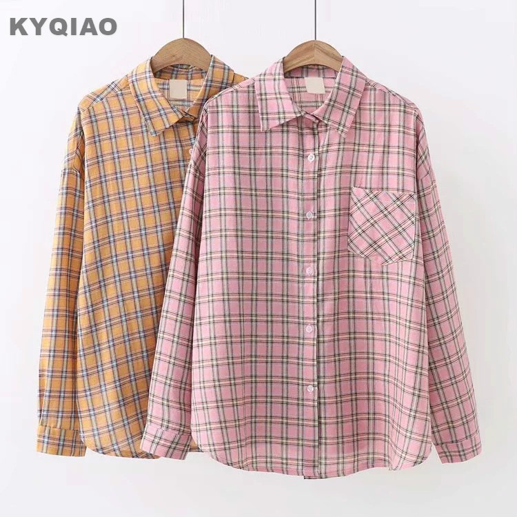 Women's Clothing Kyqiao Plaid Shirt 2019 Mori Girls Autumn Spring Japanese Style Fresh Vintage Long Sleeve Plaid Embroidery Blouse Blusa