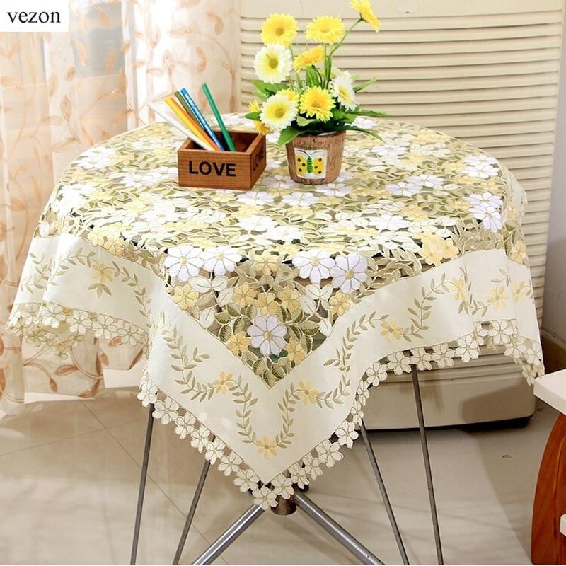 vezon Design Primăvară Elegant Floral Complet Broderie Masă Runner Decorare Steagul de flori Acoperire galben Cutwork brodate de pânză