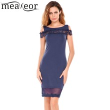 Meaneor Women Lace See-through Patchwork Off-Shoulder Hip Dress Lace Hem Patchwork Package Hip Solid Sexy Dress Party Vestidos