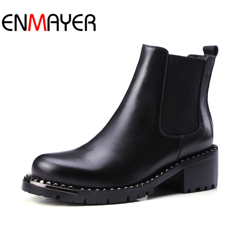 ФОТО ENMAYER Fashion Women Mid-calf Boots Autumn Shoes Women Classic Black Shoes Size 34-39 Platform Boots Round Toe Motorcycle Boots