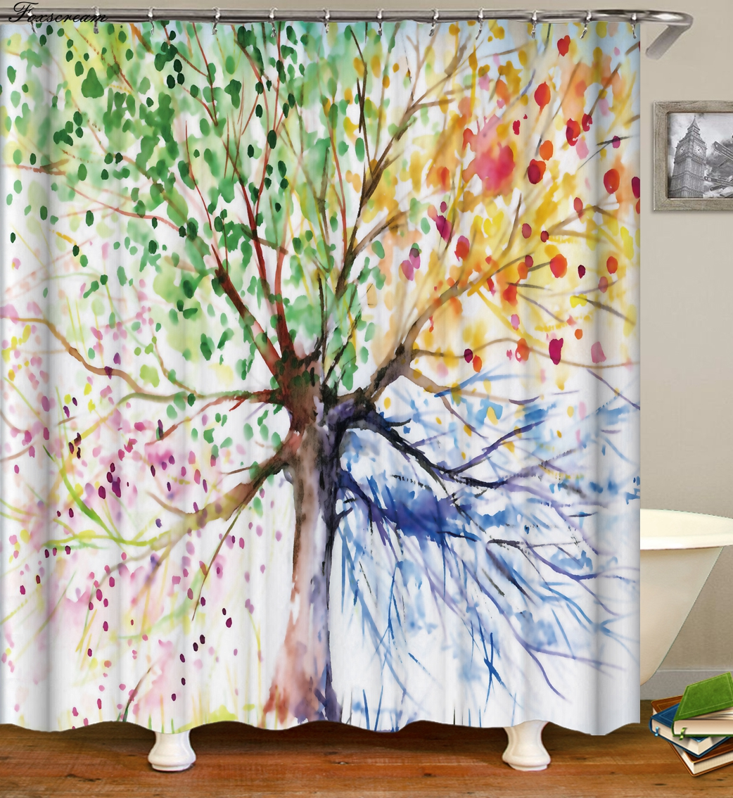 Us 6 02 33 Off Tree Shower Curtain 3d Curtains Bathroom Curtain With Hooks Fabric Flower Waterproof Funny Bath Curtain Or Mat In Shower Curtains
