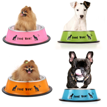 New Arrival Fashion Stainless Steel Anti-skid Dog Cat Food Water Bowl Pet Feeding Tool 11X15.1X4.2CM 80g