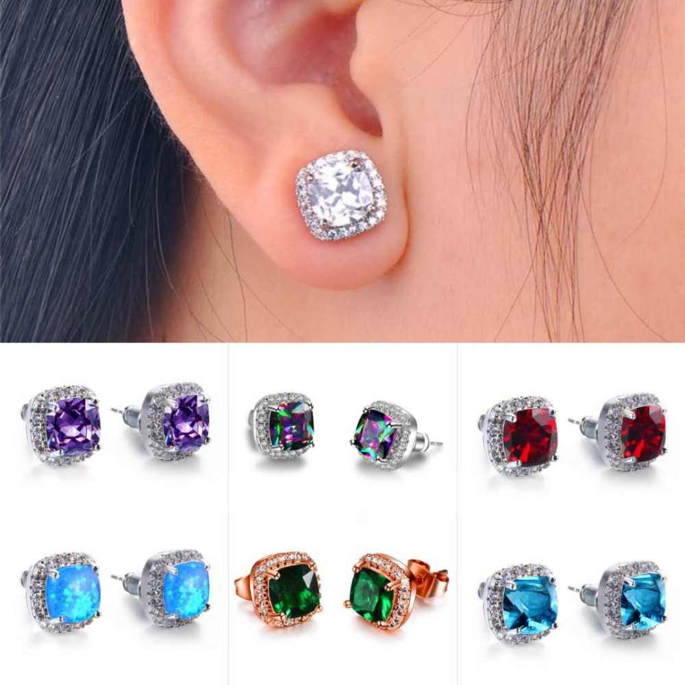 Wholesale Female Crystal Square Stud Earrings For Women 925 Silver Rose Gold Color White Blue Green Fire Opal Earrings Jewelry