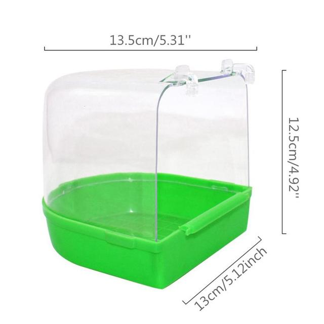 Adeeing Parrot Bird Bathtub with Hooks Cage Accessory Bird Bath Shower Box Random Color 4