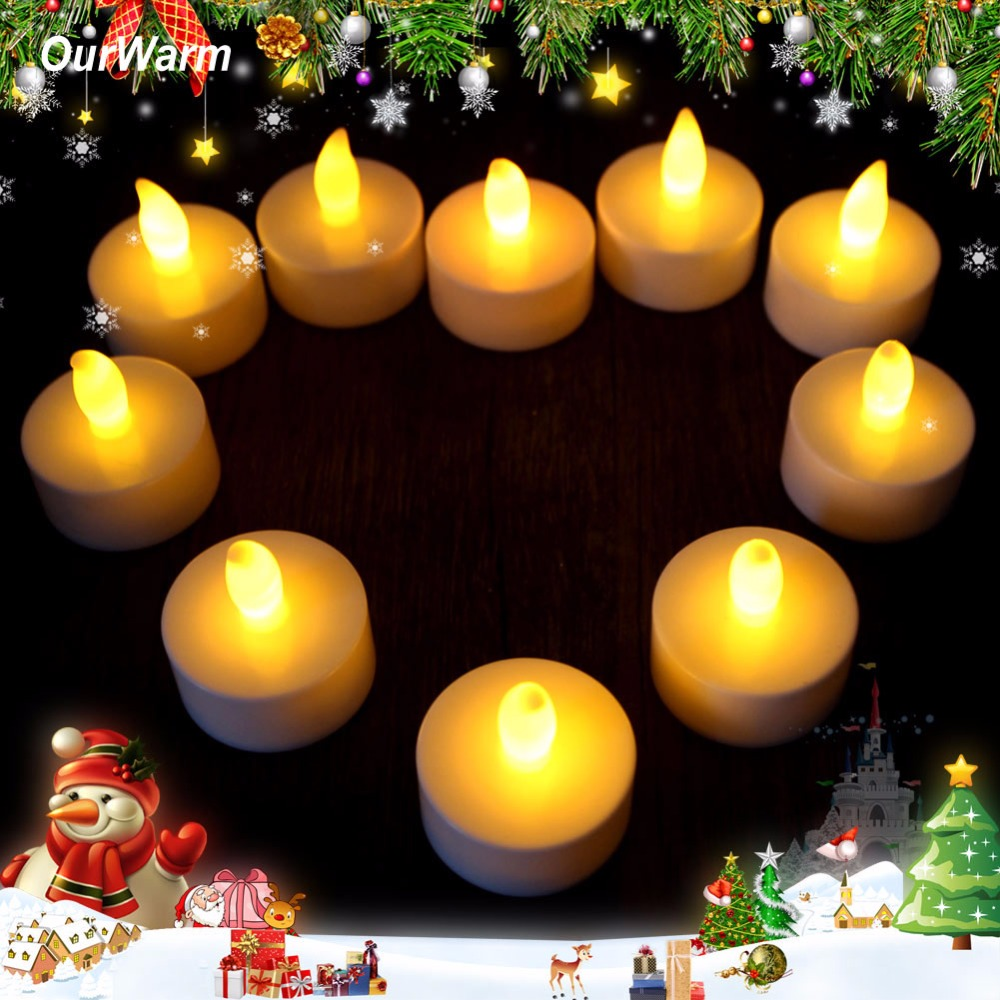 10pcs/lot Romantic Tealight Tea Candles Wedding Decor Candle Light Flickering Light Flameless LED Valentines Day Decoration