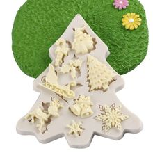 3D Cake Moulds Food Grade Silicone Christmas Tree Deer Santa Claus Fondant Cake Decorating Tool Candy Cake Mold Pastry Tool цена