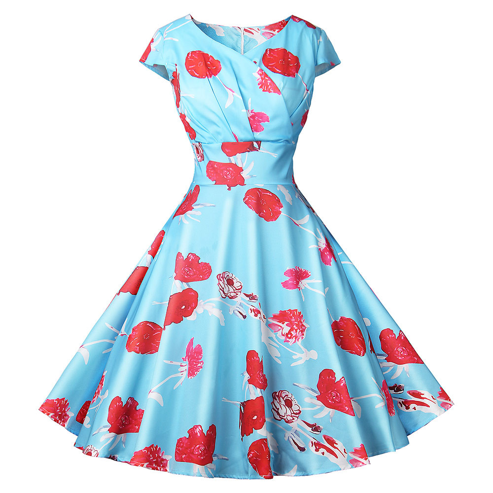 JAYCOSIN S-XXL Women Spring Summer Polyester Vintage Printing Sleevele Casual O-Neck Evening Party Prom Swing Dress 2020 z0912#