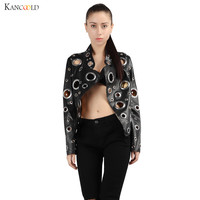 Fashion Design Personality PU Round Hole Women Jacket Gold Black Silver Color Stand Collar Long Sleeve Coat Leather Clothing n04