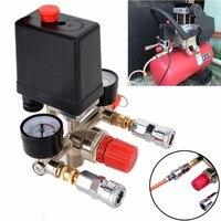 1pc 240V 20A Air Compressor Pressure Valve Switch 90 120PSI Manifold Regulator Gauges 82x82x52mm