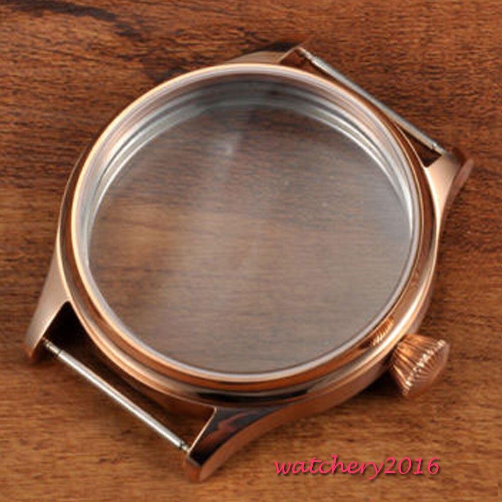 44mm Corgeut acier inoxydable poli rose d'or plaqué cas fit eta 6497 6498 Cas mouvement De Montre