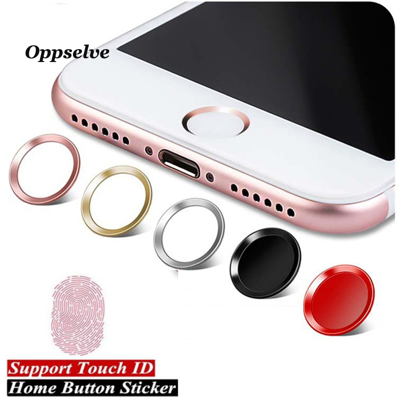 Oppselve Färgglada Home Button Sticker Aluminium Round Touch ID för iPhone 8 7 6 6s Plus 5 5s med fingeridentifieringsfunktion
