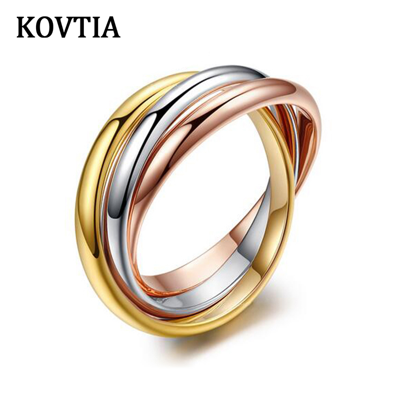kovtia brand classic unique jewelry multi colors trinity wedding rings simple design women wedding bands jewelry