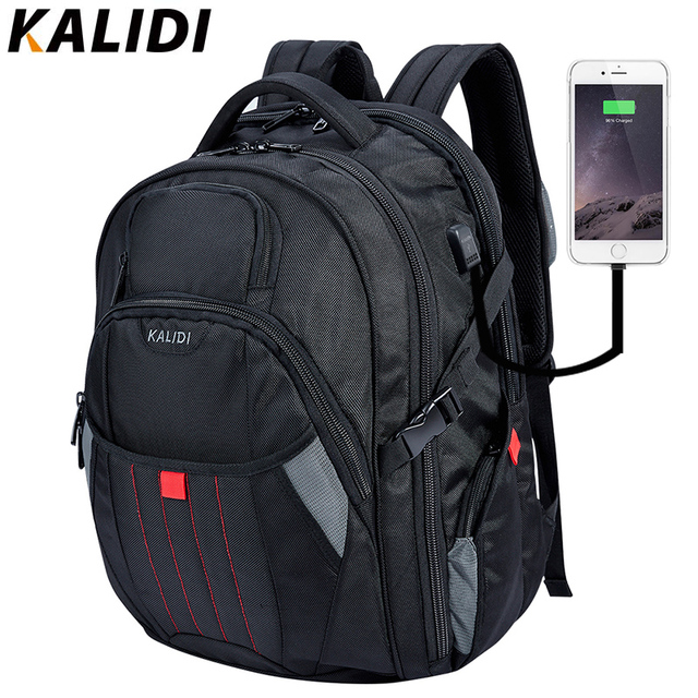 KALIDI  Men Large Laptop bag Backpack 18.4 17.3 inch Fashion Black Backpack Computer Bags USB Charge Travel  School Backpack