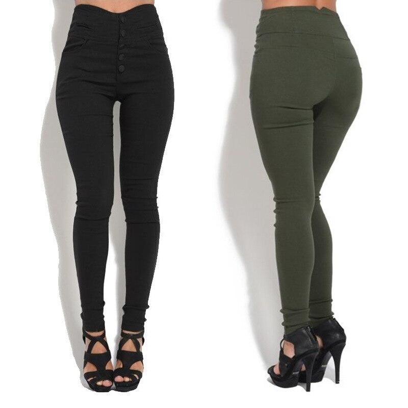 Spring High Waist Skinny Leggings Black Empire Button Sexy Leggings Women Elegant Sporting Pants Fitness Leggings With Pocket On