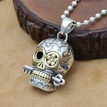 Handcrafted 925 Silver Skull Head Pendant vintage sterling silver Skeleton pendant man PUNK pendant