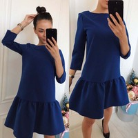 Fall Dresses New Arrival 2017 Women Autumn long sleeve O-Neck Casual Vintage Style Loose Mini Party Dress