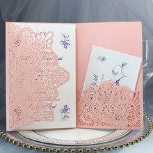 100pcs European Laser Cut Wedding Invitations Card Rose Elegant Tri-Fold Lace Business Greeting Cards Party Decorations