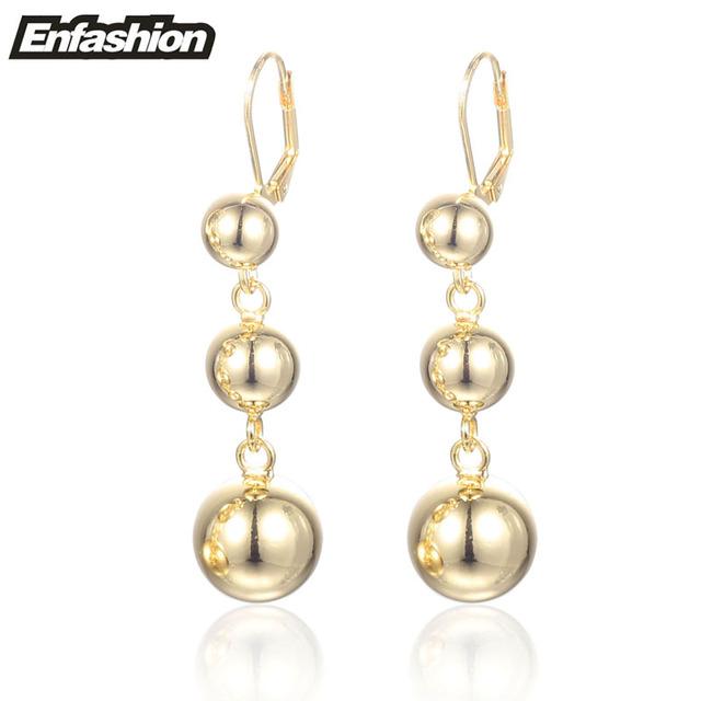 Enfashion círculo 3 ball drop brincos rose banhado a ouro brincos longo brinco dangle brincos para mulheres brincos de jóias por atacado